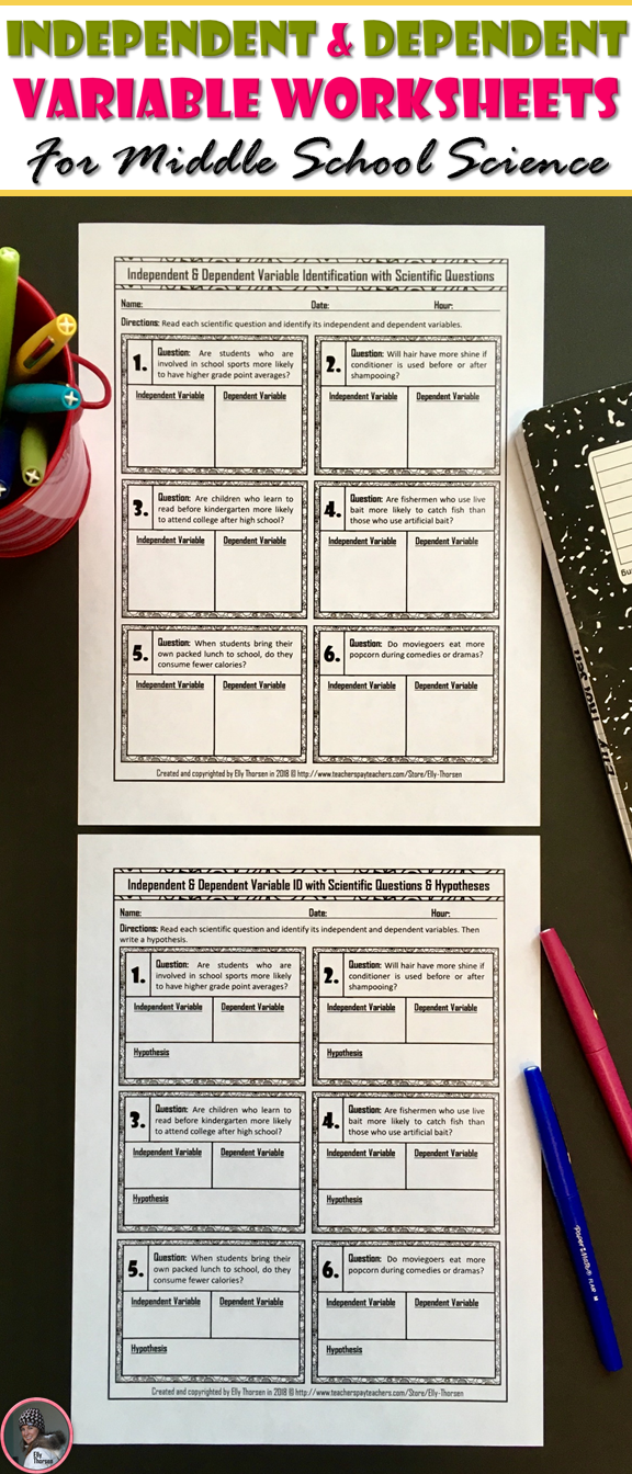 Independent And Dependent Variable ID With Scientific Questions Worksheets  Scientific Method Middle School, Scientific Method, Middle School Science
