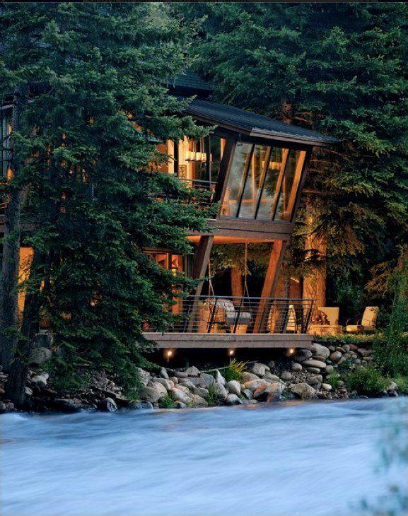Beautiful River House Colorado Twilight House Architecture