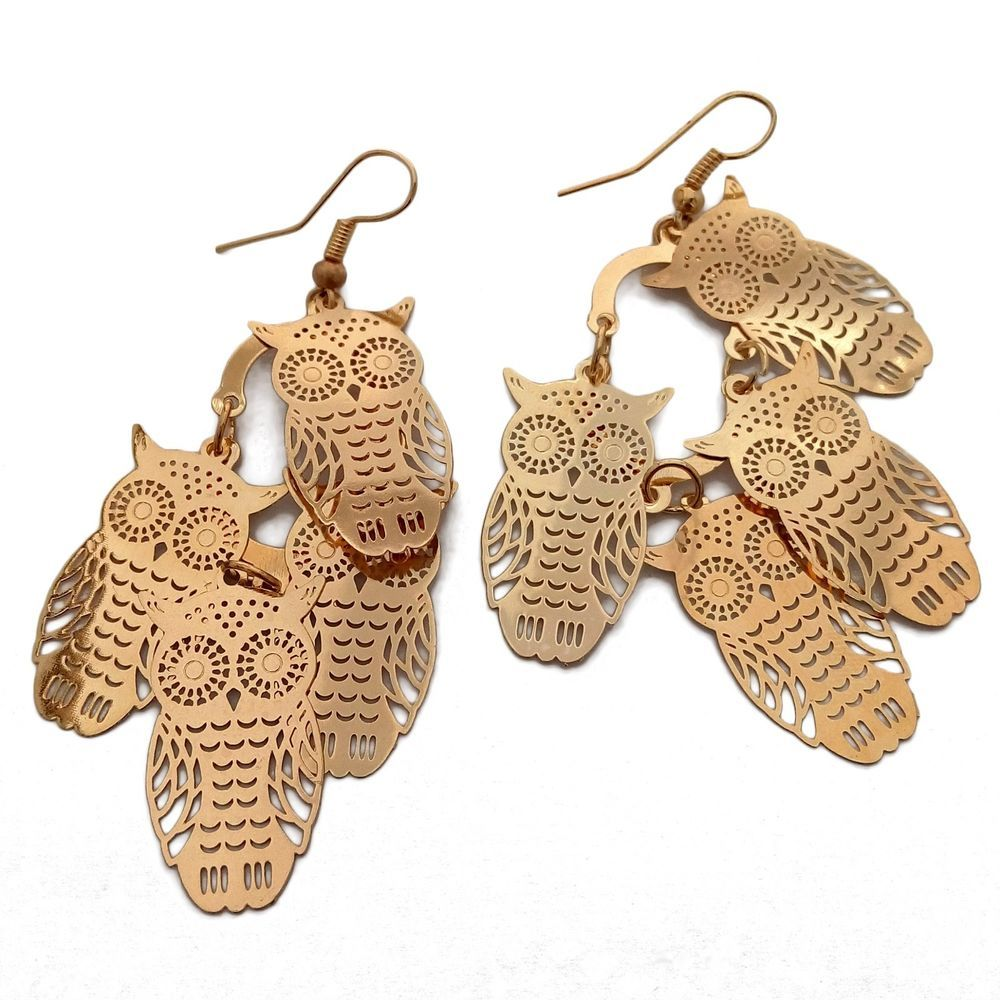 Womens Fashion Gold Plated Vintage Owl Design Pendant Dangle Chandelier Earrings #Fashion #Earring