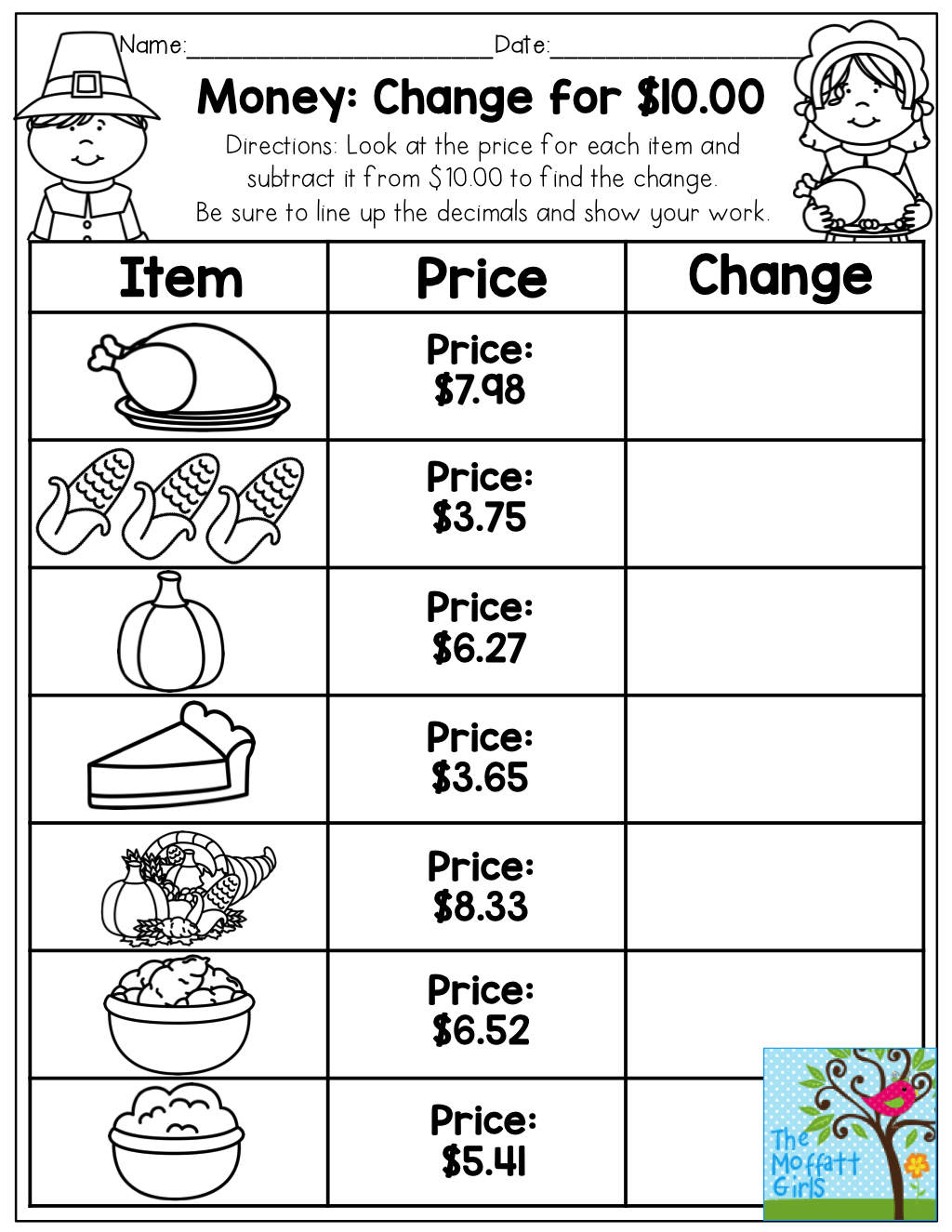 Money: Making Change for $10.00. Such a cute idea for getting children  ready for a Thanksgiving Day feast!   Money math [ 1325 x 1024 Pixel ]