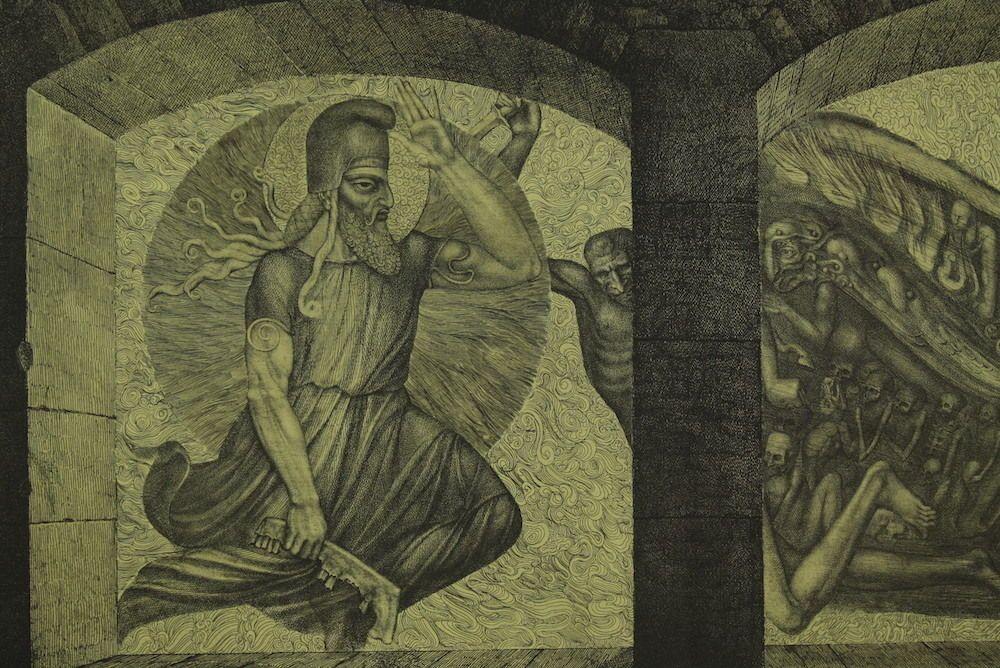 Ernst FUCHS Radierung aus dem Zyklus Samson - Samson kämpft gegen die Philister in Antiquitäten & Kunst, Grafik, Drucke, Originaldrucke 1950-1999   eBay