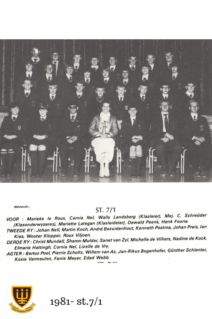 St.7/1 Hoërskool Wesvalia 1981