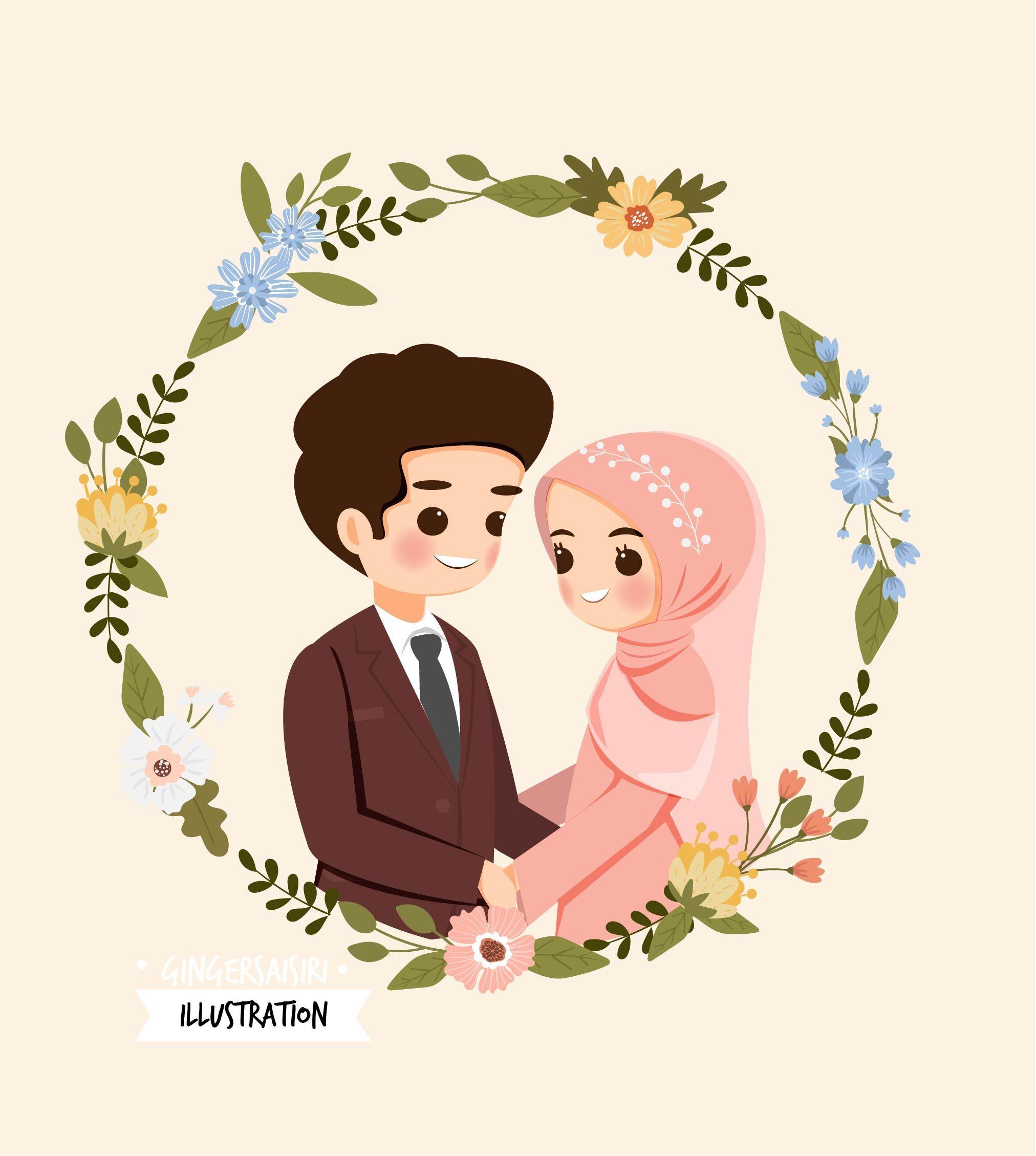 Muslim Wedding Couple With Floral Wreath Di 2020 Lukisan Keluarga Kartu Pernikahan Gambar Pengantin