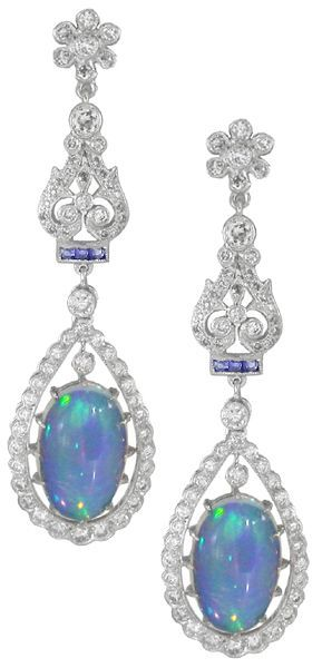 18k White Gold, Opal, Sapphire and Diamond Earrings.