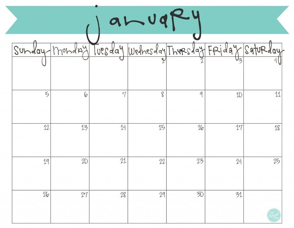 January 2017 Calendar Printable Template Calendar Pinterest - printable monthly calendar sample