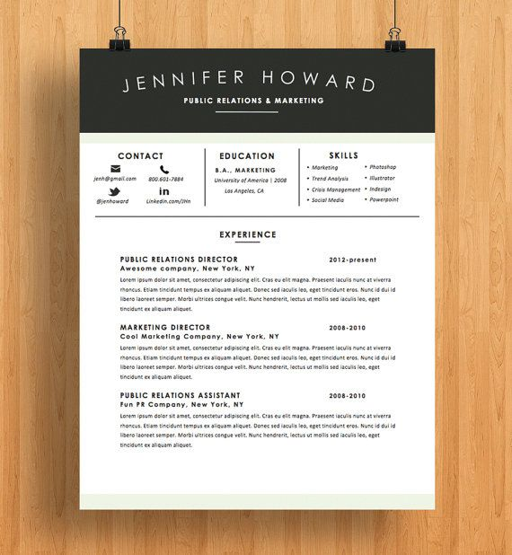 Resume Template CV Template + Cover Letter Modern Resume Design - apple pages resume templates