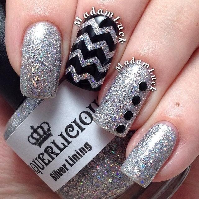 black and silver glitter accent