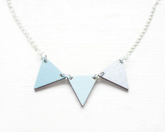 Wood Bunting Necklace Blue  Slate  Silver by FawnAndRose on Etsy, £16.00