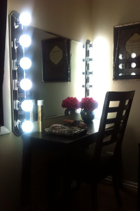 DIY Vanity mirror Bar lights mirror and bulbs from home depot