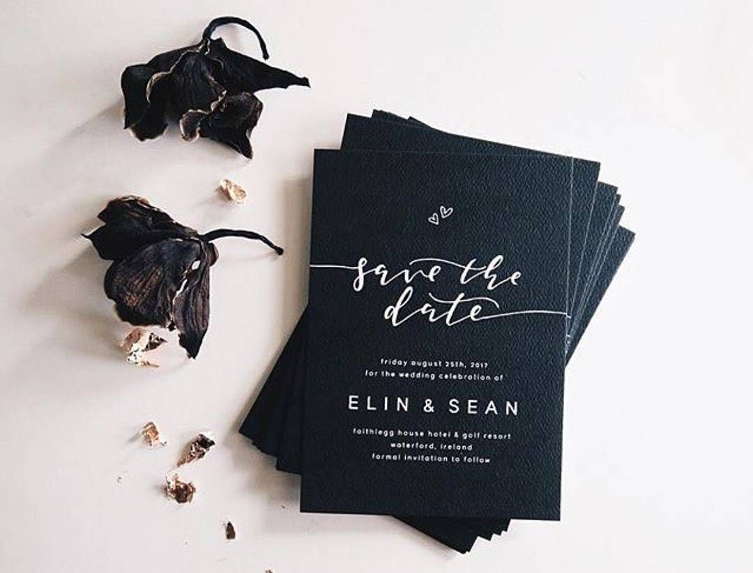 business event invitation templates%0A I N S P I R E    Stunning modern charcoal  u    Save The Dates u      Elegant black  and white save the date cards  Could accent with a linen and floral lined