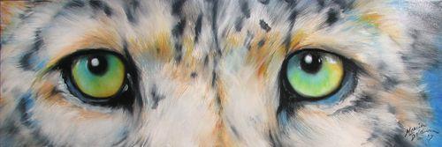 "SNOW LEOPARD EYES Oil Painting  36"" x 12"" by  Marcia Baldwin ♥•♥•♥"