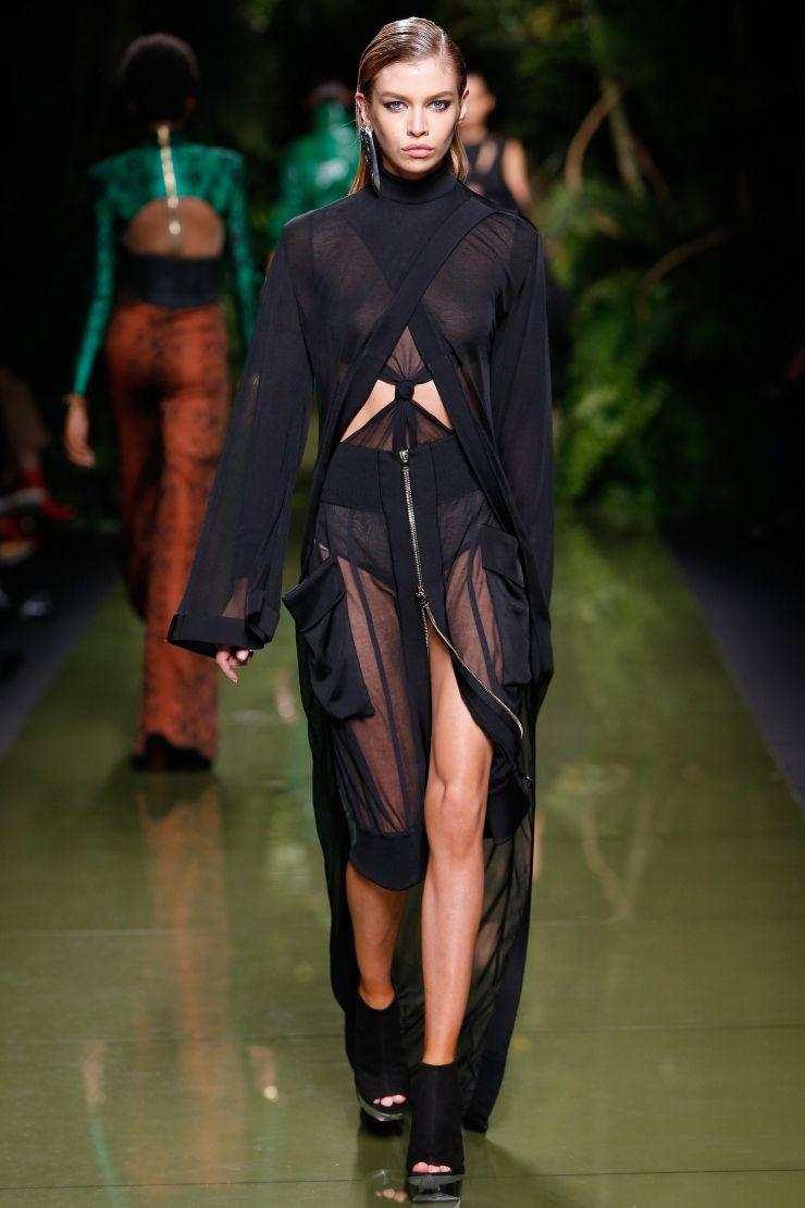 7132461c3 Stella Maxwell walks the runway at the Balmain S S17 show during Paris  Fashion Week on September 29