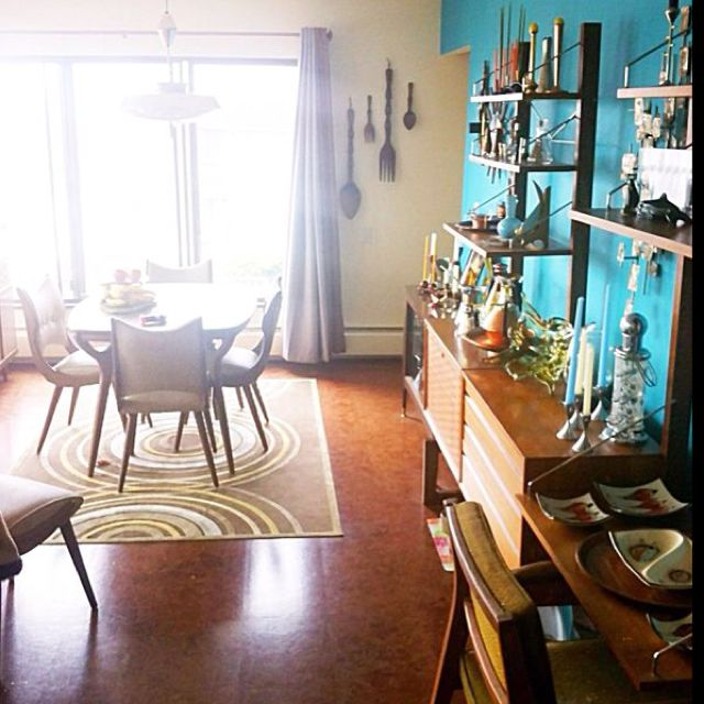 My mid-century furnished dining room. Cado wall unit in teak, saucer ...
