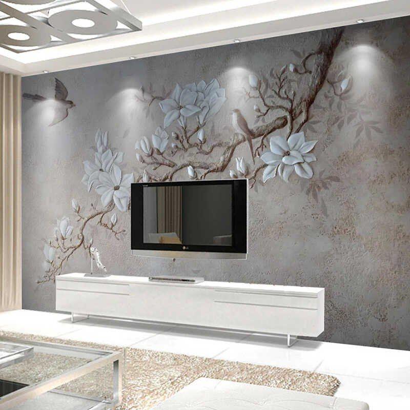 Papel de parede personalizado de qualquer tamanho foto, pastoral moderno 3d, gravado, flores, pássaros, mural, papel de parede, sala de estar, quarto, parede