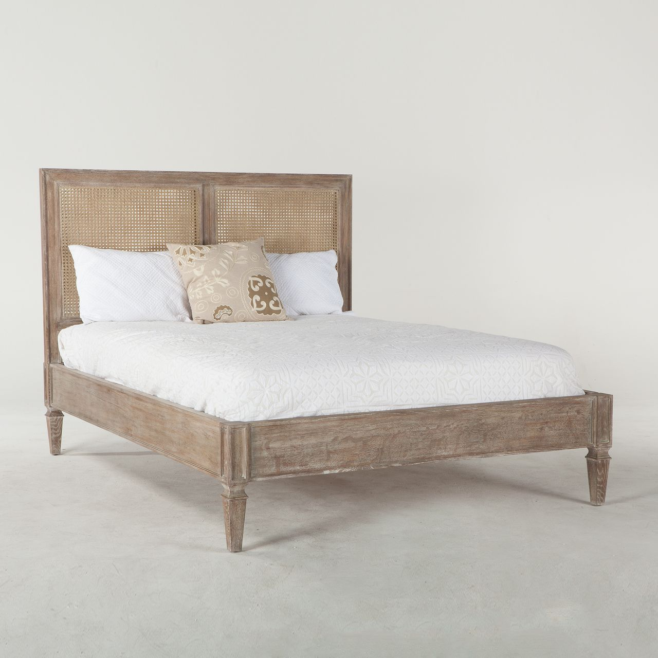 Shop Our Parisian Vintage Grey Oak Queen Size Platform Bed Frame