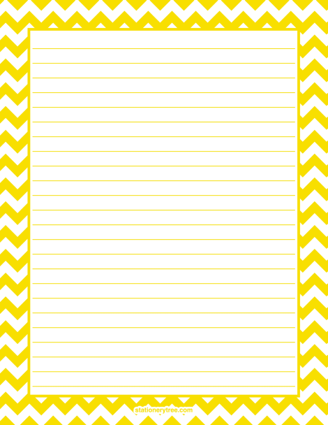Printable yellow chevron stationery and writing paper. Multiple versions available with or without lines. Free PDF downloads at http://stationerytree.com/download/yellow-chevron-stationery/