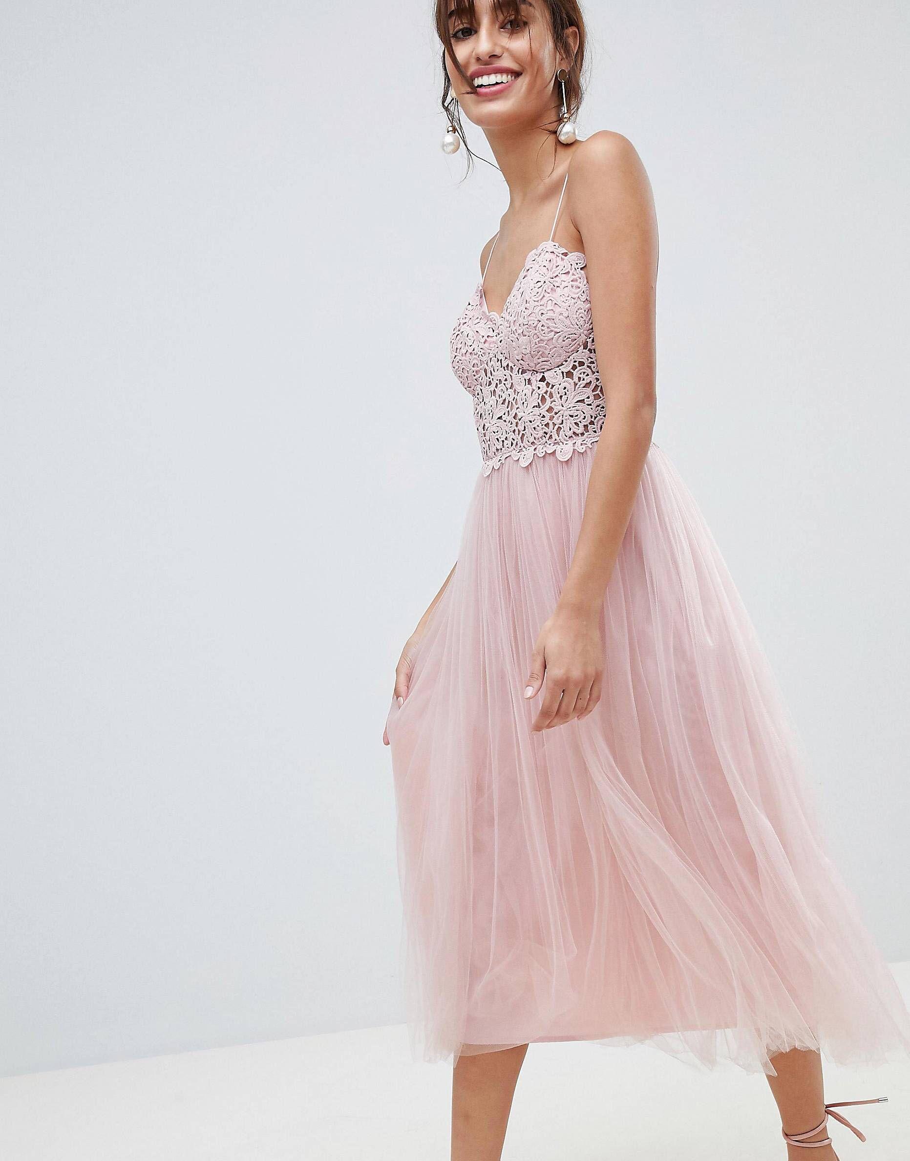 55dc849e031 Asos Premium Lace Cami Top Tulle Midi Dress
