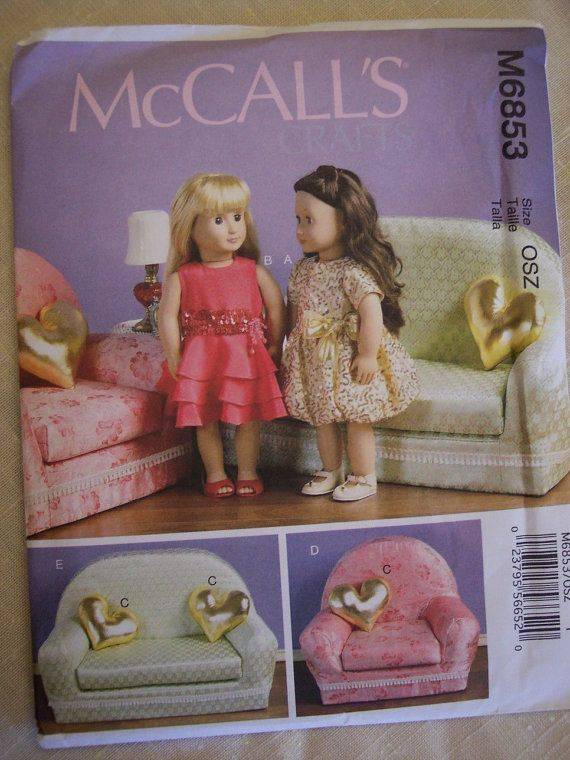 Doll Furniture Pattern for 18 inch Dolls, McCalls 6853 on Etsy, $4.39 CAD