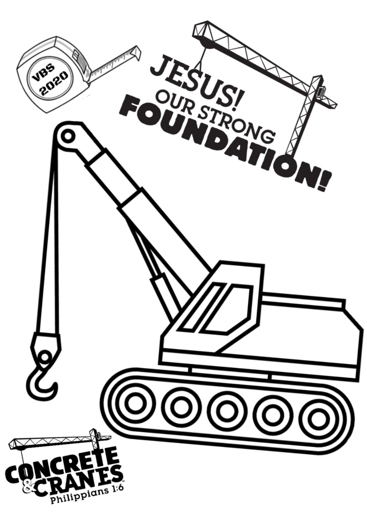 A Custom Concrete And Cranes Vbs Coloring Page Great To Use