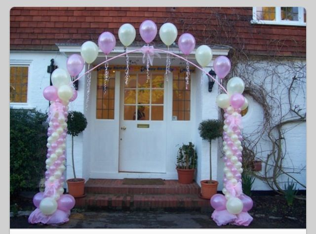 Balloon columns and arch balloon arch balloon decor for Balloon decoration ideas for quinceaneras