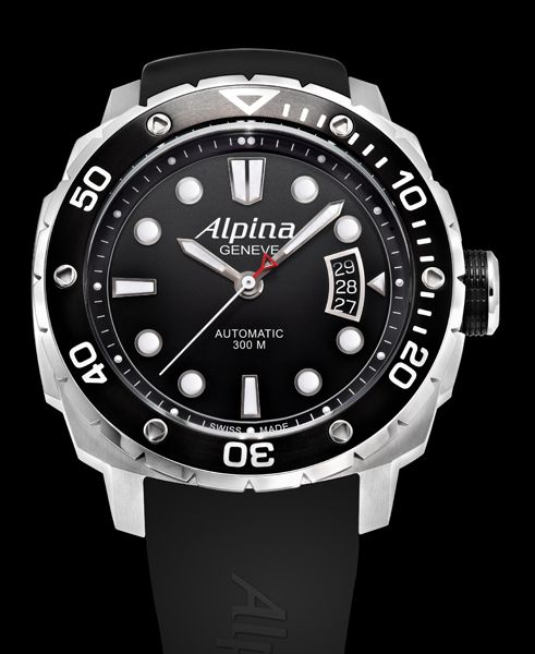 Alpina Diver Extreme Dive Watch Collection - feature a counter-clockwise single directional rotating bezel to measure dive time.