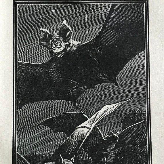 Bat Print-1949-Illustration-Neave Parker-Lino Cut-Engraving-British Isles-Vintage-Home decor #britishisles Bat Print-1949-Illustration-Neave Parker-Lino Cut-Engraving-British Isles-Vintage-Home decor #britishisles