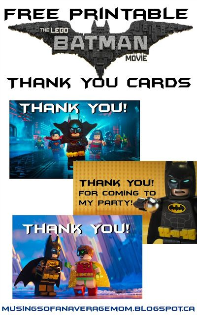 Lego Batman Thank You Cards Birthday Parties Pinterest Lego