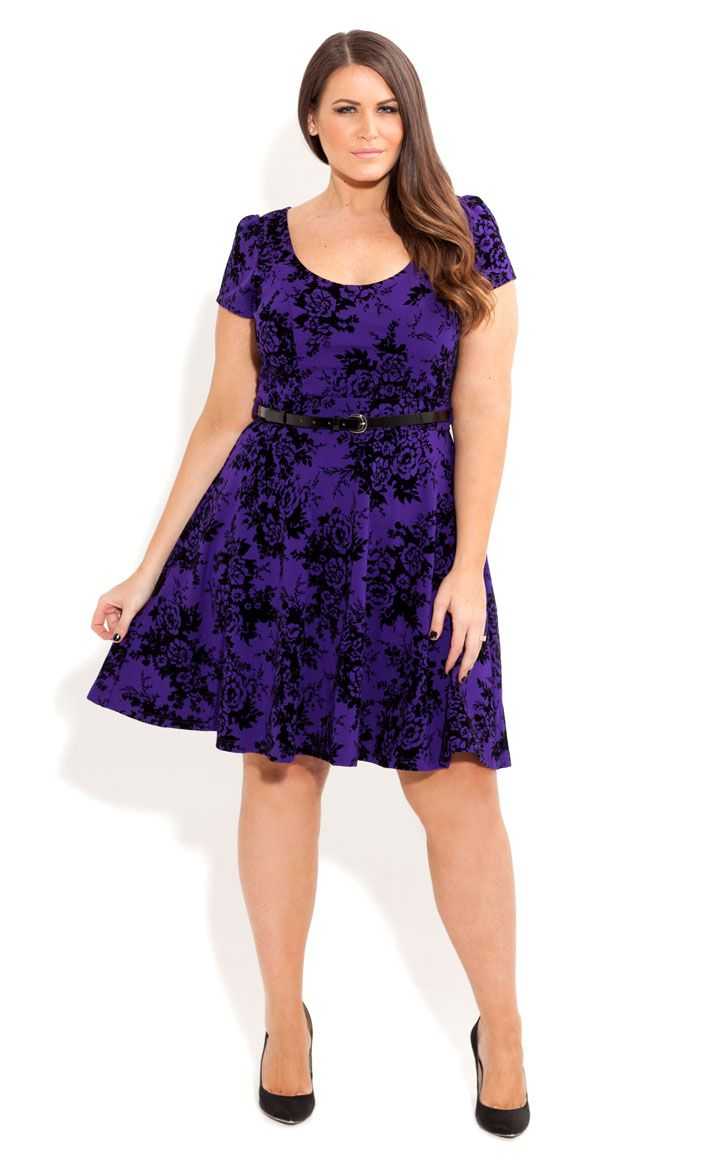 City Chic - ORIENTAL FLOCKED SKATER DRESS - Women\'s plus size ...