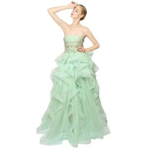 REEM ACRA Embroidered Bustier Tulle Long Dress - Mint