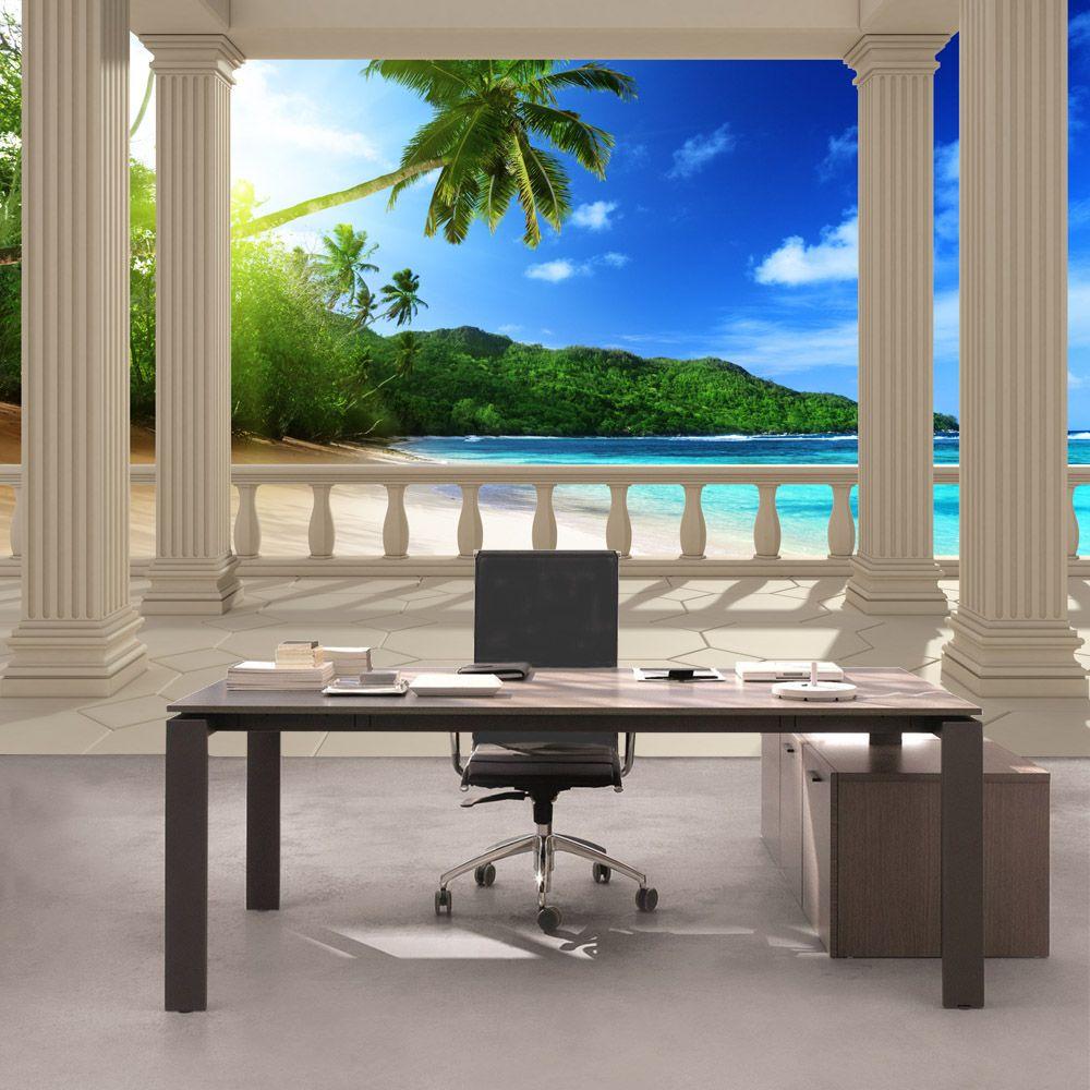 vlies fototapete aussicht terrasse aussicht karibik in. Black Bedroom Furniture Sets. Home Design Ideas