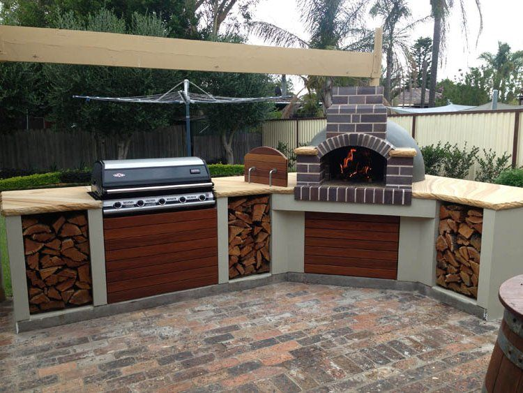 Great Layout With Pizza Oven Integrated Yes Please Backyard