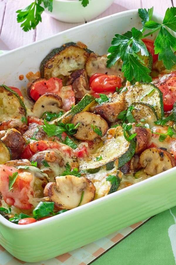 Kalorienarmes Pilzgratin mit Zucchini