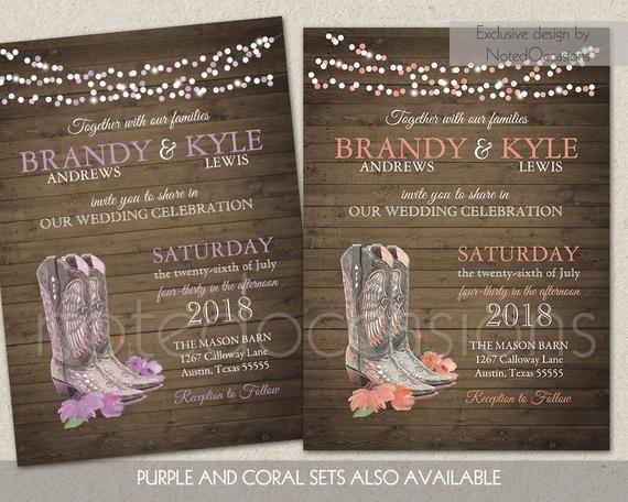Printable Country Western Wedding Invitations Set Cowboy