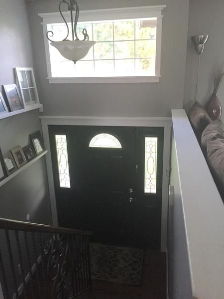 Split Foyer Front Entrance : Split level foyer and stairs remodel my diy kim
