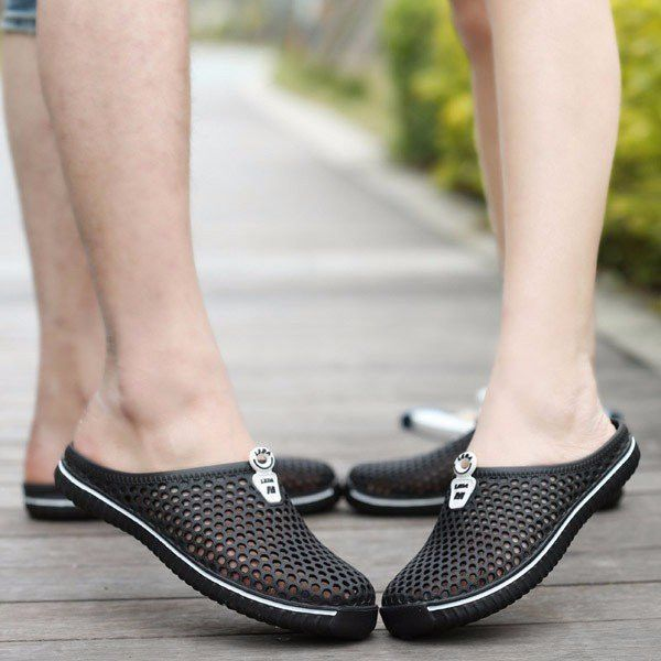 Men Women Slippers Beach Hollow-out Breathable Mesh Clogs Sandals Summer Shoes