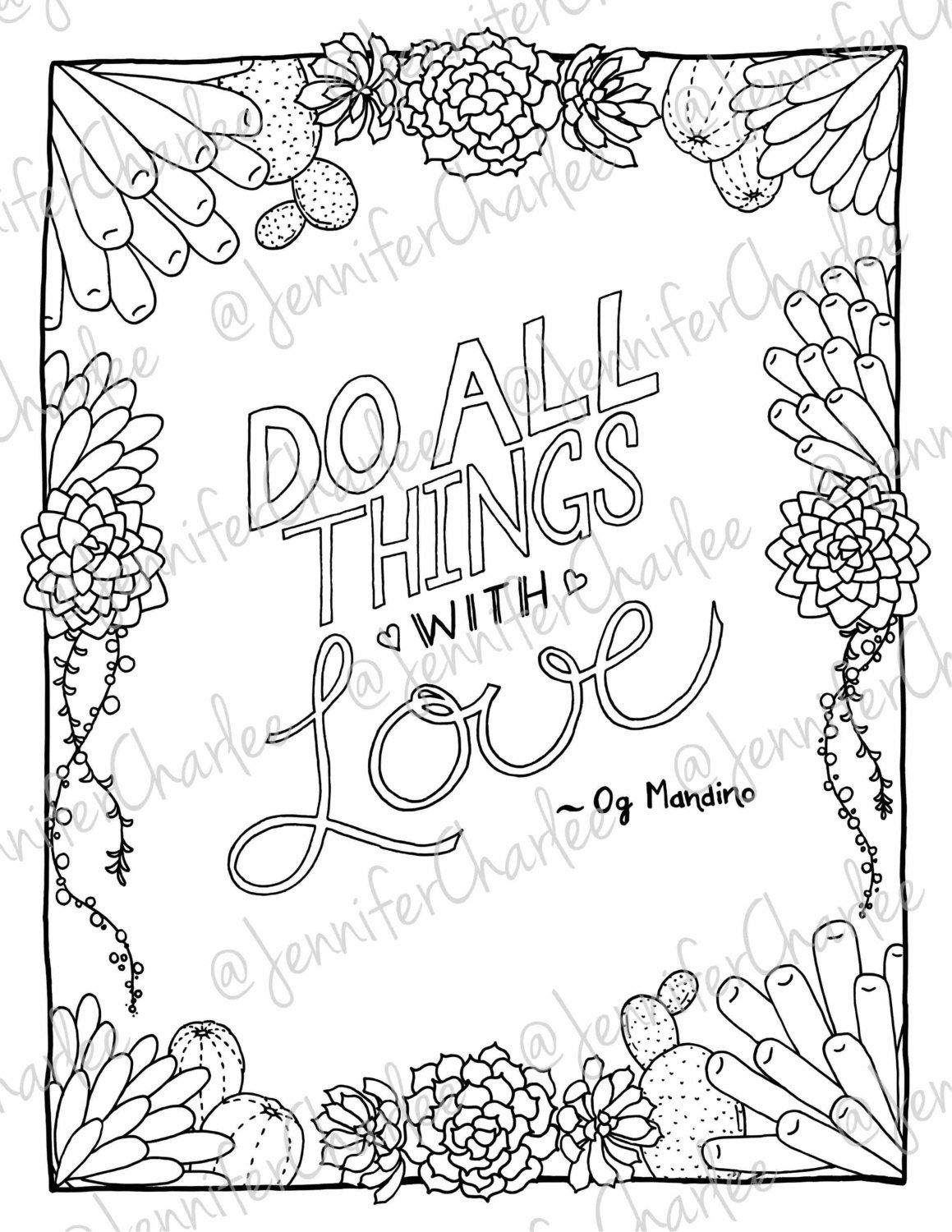 motivational quote plant coloring page by fairytalefoxdesigns