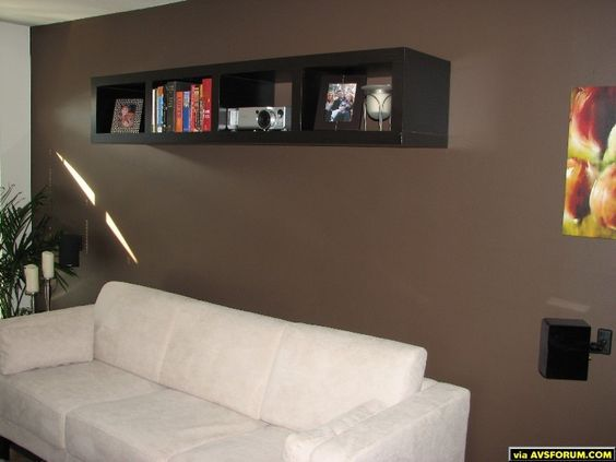 Projector placed on a bookshelf to blend in home theater pinterest room basements and for Hiding a projector in living room