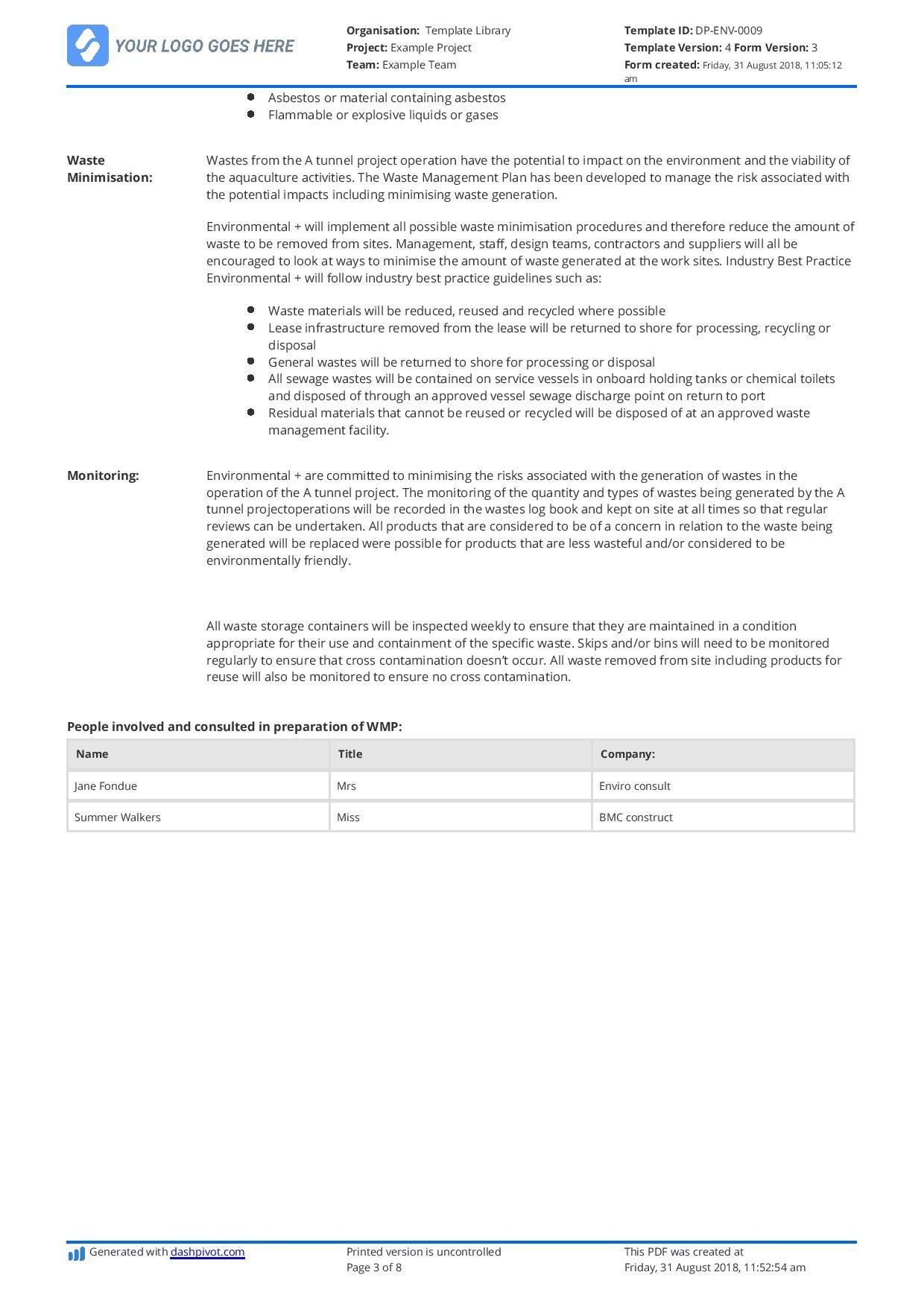 Hazardous Waste Management Plan Template Free And