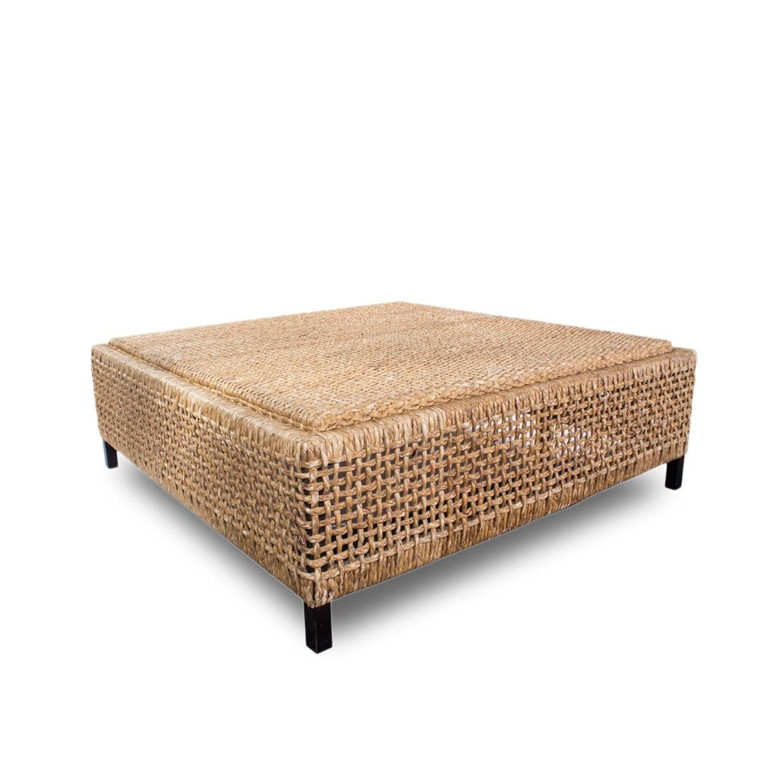 French Square Rattan Tail Table Ottoman From Treillage