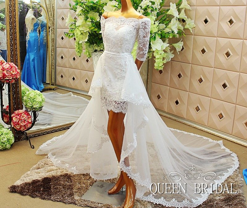 A Line Short Wedding Dress With Removable Skirt