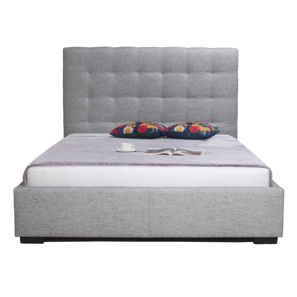 vancouver furniture store belle storage bed queen light grey fabric moes