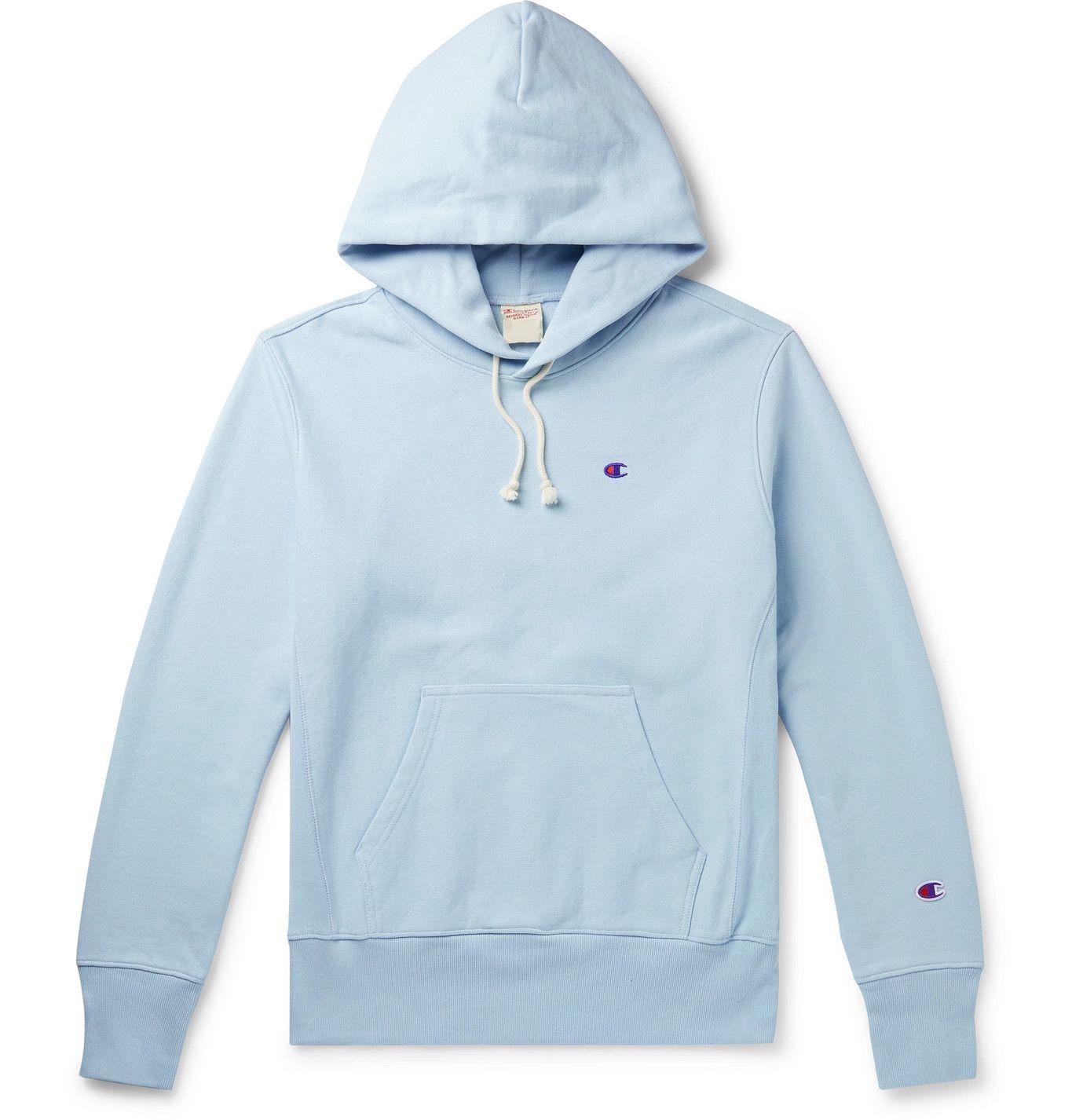 Champion Logo Embroidered Melange Fleece Back Cotton Blend Jersey Hoodie Men Blue Hoodies Champion Sportswear Blue Champion Hoodie [ 1426 x 1365 Pixel ]