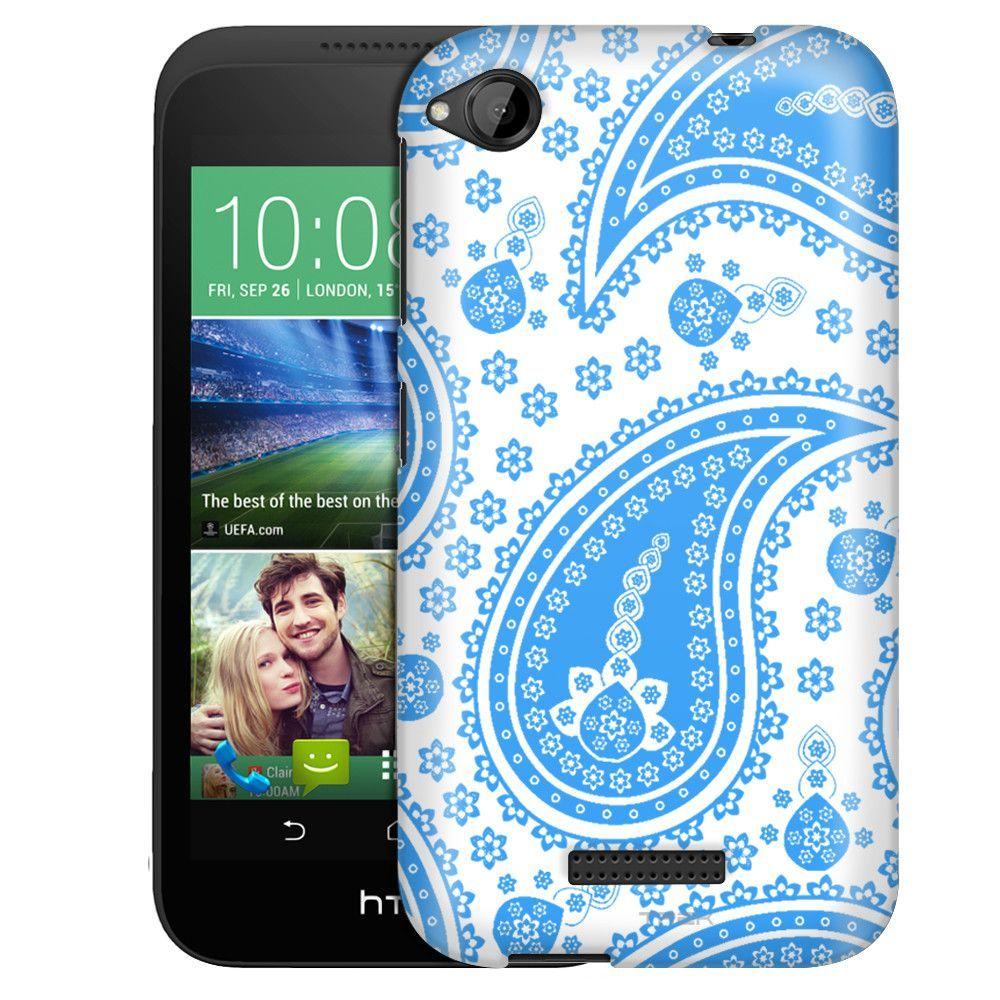 HTC Desire 320 Fun Paisley Blue on White Slim Case