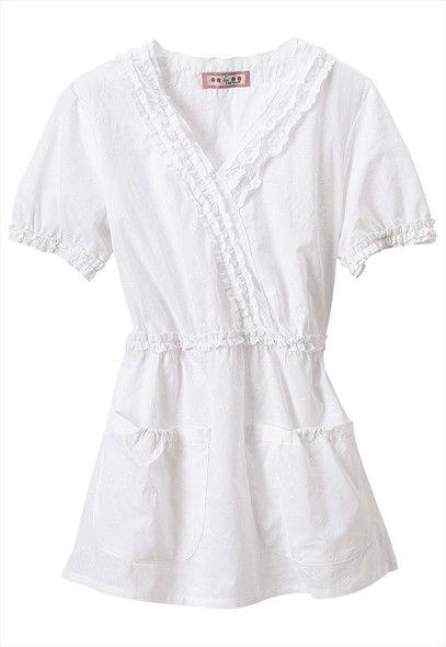 Koi White Cotton Scrub Top 2X So Pretty Ruffles & Embroidery Floral Pink…