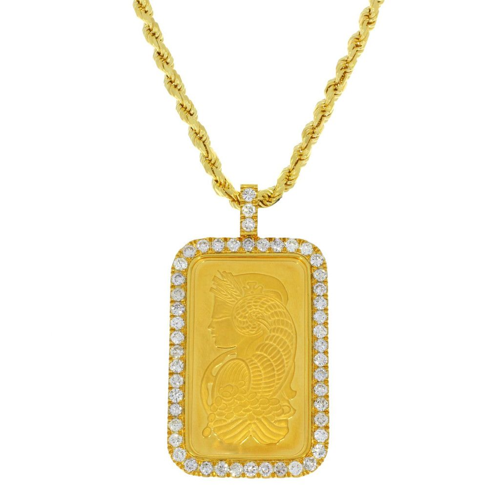 1 Oz Suisse Pamp W Diamond Bezel Gold Bar Pendant Bezel Diamond Custom Gold Jewelry