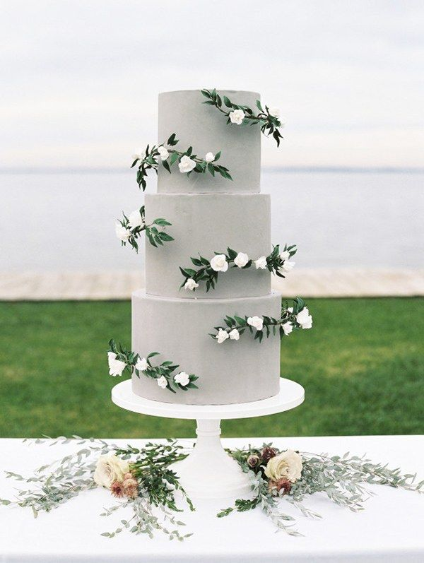 Gray Wedding Cake with Sugar Greenery