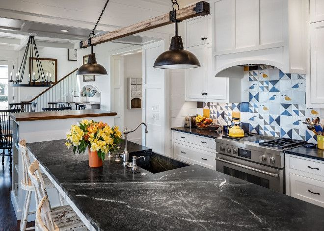Coastal Farmhouse Kitchen With Honed Soapstone Countertop And