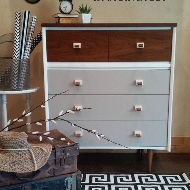 Painted Mid Century Tallboy Dresser With Bone And Leather Pulls. Refinished  By Modern Relic