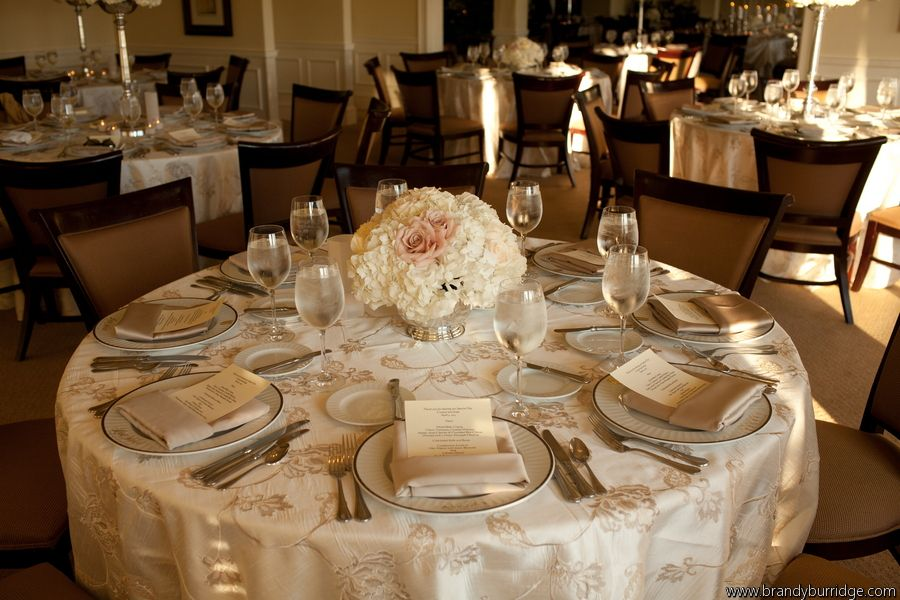 Champagne Color Wedding Centerpieces With Beds Of Ivory Hydrangeas And Tucked In
