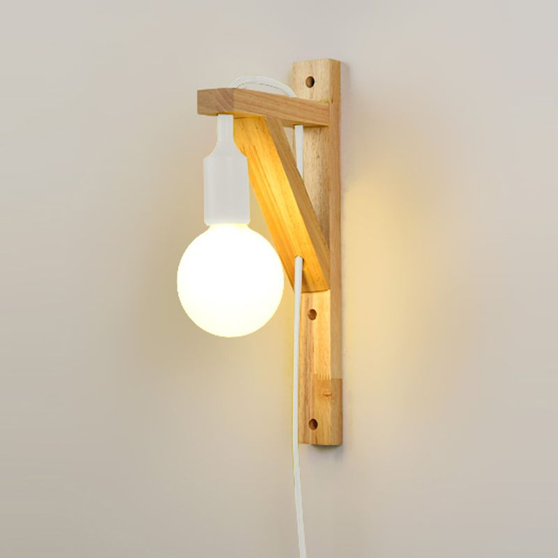 Wood Wall Lamp For Living Room Bedroom Room Led Energy Saving With External Plug Hanging Wall Light Bedside Wall Sconces Modern Wall Lamp Wall Lamp Wall Lights